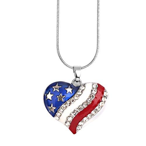 Collar Patriótico con Colgante de Diamante de Diseño de Estrella de Bandera Americana de EE. UU. - Corazón