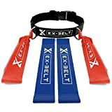 EX-BELT Resistance Band Belt, [Set of 5] -1 Exercise Fitness Training Belt (M-L) with 4 Resistance Bands Men Women- Ideal for <span class='highlight'>Home</span> Gym Fitness Workout Upper Body Strength Boxing Stretching and More