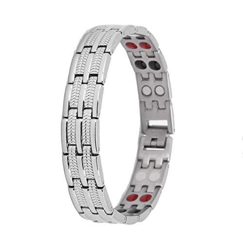 Pulsera magnética pulsera magnética de acero de titanio, joyería de salud para hombres para aliviar el dolor de la artritis pulseras magnéticas pulsera de terapia magnética(Color acero)