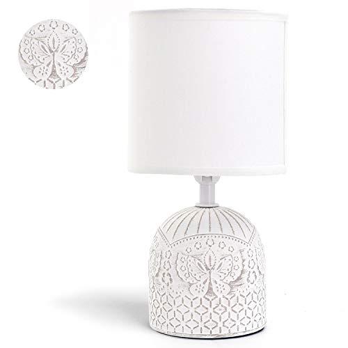 Aigostar - Lámpara de cerámica de mesa, cuerpo color blanco con grabado de mariposas, pantalla de...
