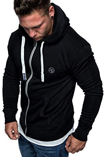 Amaci&Sons Herren Zipper Kapuzenpullover Sweatjacke Pullover Hoodie Sweatshirt 1-04029 Schwarz XXL