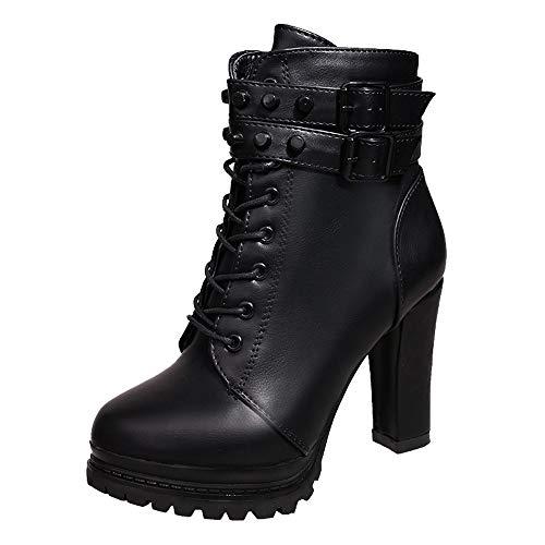 Zapatos de Tacón Alto Botas Mujer Invierno Botas Cuero con Cordones Zapatos de Punta Redonda Cómodas Mujeres Botas Cortas Zapatos Casuales Negro 35-40 riou