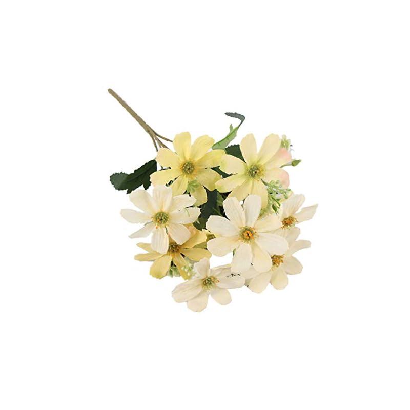 silk flower arrangements flameer 5 branch 10 heads artificial silk fake cosmos flowers wedding floral decor bouquet, artificial daisy bouquet - yellow