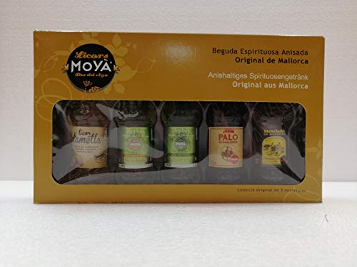 Colección de 5 Miniaturas de 4cl, Licores Moyá de Almendra, Hierbas mixta...