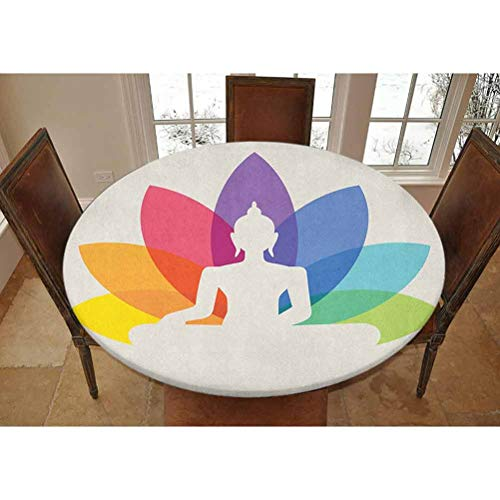"Elastic Polyester Fitted Table Cover,Silhouette of Sitting Young Statue with Colorful Lotus Flower Floral Cultural Print Decorative Picnic Fitted Table Cloth, Fits Tables 40' - 44"" Diameter,Multicolor"