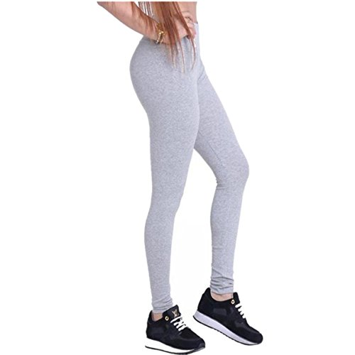 Dreamskull Leggings Jeggings Treggings Bleistifthose Stretchhose Damen Mädchen Hose Lang High Waist Skinny Slim Fit Schwarz Yoga Joggingshose Stretch Workout Fitness, Grau, M
