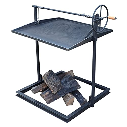 TITAN GREAT OUTDOORS Adjustable Campfire Asado Grate and Griddle, Open Flame Cooking