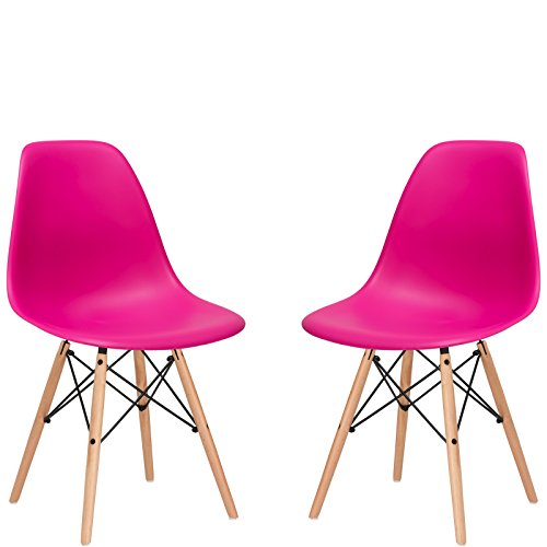 Poly and Bark Modern MidCentury Side Chair with Natural Wood Legs for Kitchen Living Room and Dining Room Fuchsia Set of 2