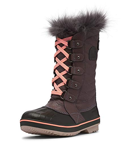 Sorel - Youth Tofino II Winter Snow Boots with Faux Fur Cuff for Kids, Purple Sage, Coal, 3 M US