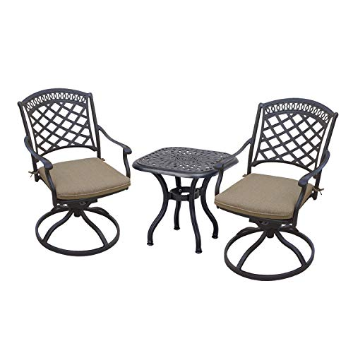 Darlee Sedona 3 Piece Cast Aluminum Patio Bistro Set with Swivel Rockers - Antique Bronze