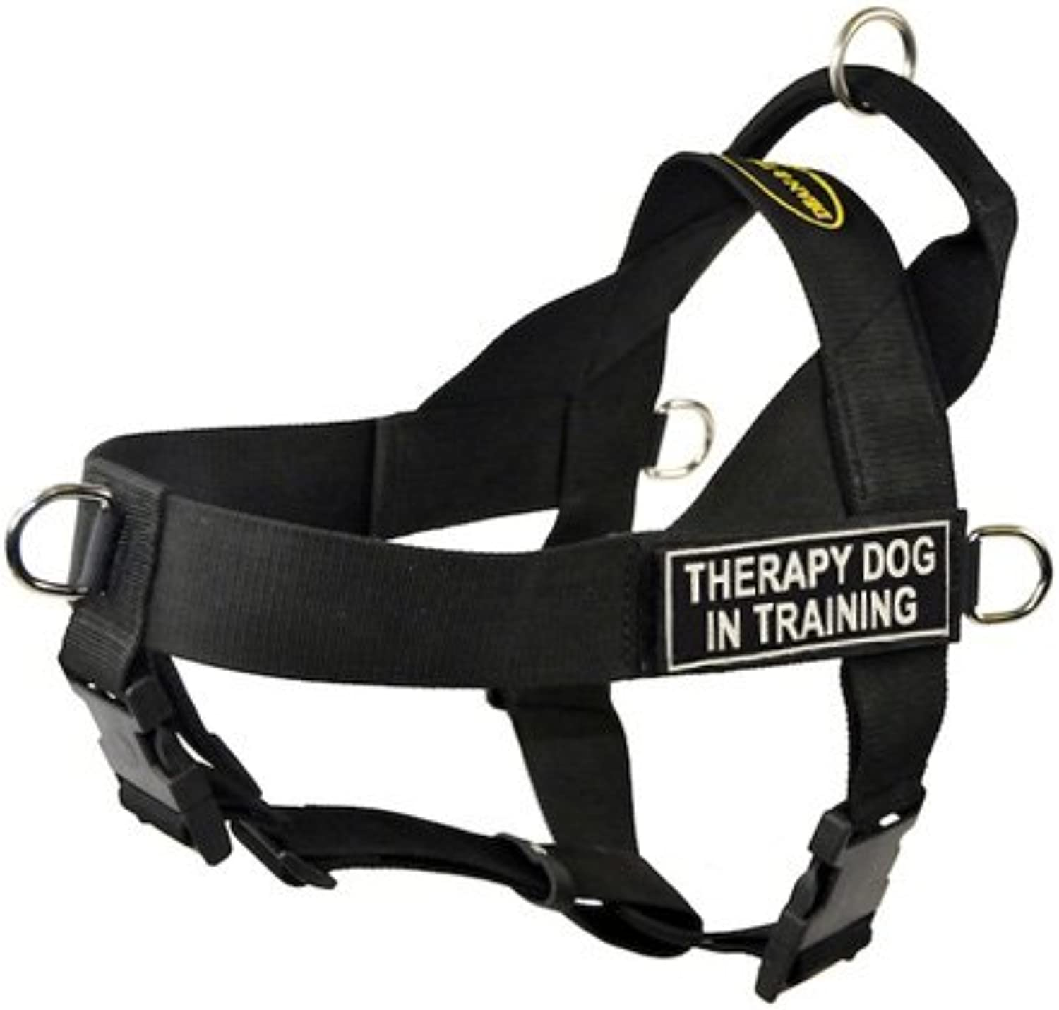 DT Universal No Pull Dog Harness, Therapy Dog In Training, Black, XLarge  Fits Girth Size  91cm to 119cm