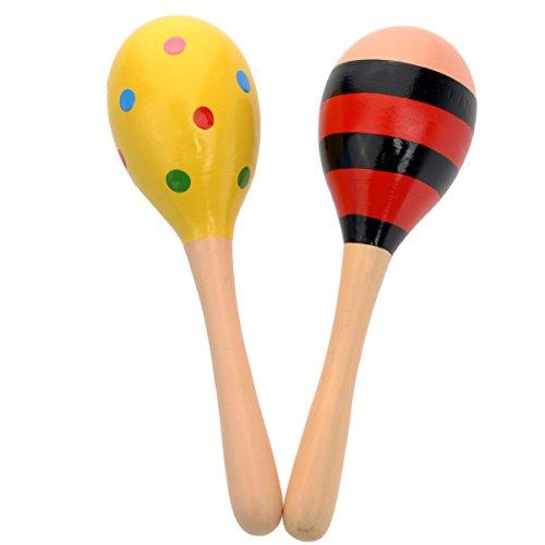Tinksky Kinder Holz Maracas Rassel Shaker musikalische pädagogisches Spielzeug, 2pcs(Random Color)