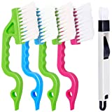 5 PCS Hand-held Groove Gap Cleaning Tools, FANDAMEI 4PCS Window Door Sliding Track Cleaning Brush + 1PCS Dustpan Cleaning Brushes, Home Kitchen Cleaning Brush Tool