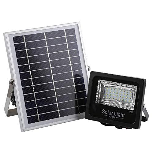 RONGW JKUNYU 30W Ultrafino IP66 a Prueba de Agua Timing eléctrica Solar luz de inundación del LED, 32 LED SMD 2835 lámpara LED con 6V / Panel Solar 0.83A e Iluminación de Control Remoto Linterna