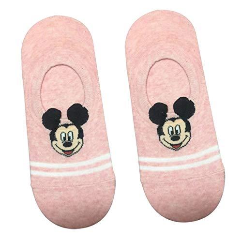 10 Pares Cartoon Short Stocks Cotton Silicone Anti-Slip Strips Cartoon Mickey Parallel Bars Shallow Mouth Invisible Cotton Socks