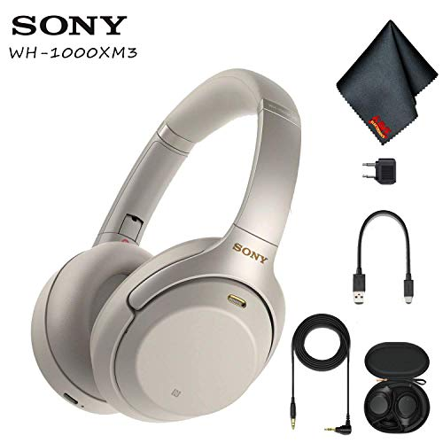 Sony WH-1000XM3 Wireless Noise-Canceling Over-Ear Headphones (Silver) with Cleaning Cloth