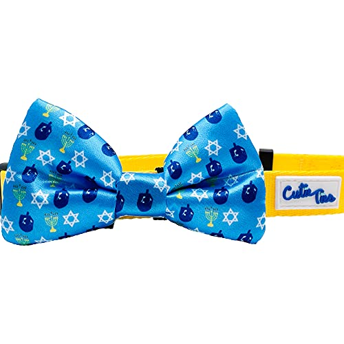 Cutie Ties Blue Hanukkah Dog Bow Tie Deluxe Quality 2' x 4' with Easy Slip Over Collar Elastic Bands-Fits Most Sized Dogs-Custom Designs
