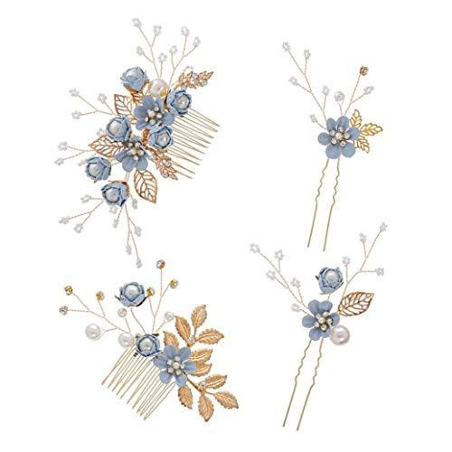 XLKJ 4 Pcs Peines para el Pelo de Novia con Diamantes de Imitación, Horquillas Pelo Mujer de Novia, Pelo Peine Novia Perlas Diamantes Decorcaión para Mujer