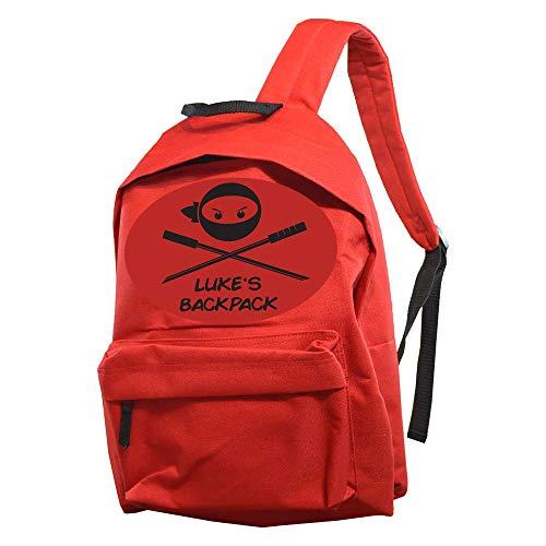 Personalised Red Backpack for Boys School Bag/Dark/Bordeaux/Teen/Modern/Print/Name/Message/Ninja Fighter/Large/Children/Kids/32 x 18 x 42.5 Centimetre