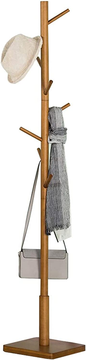 Standing Simple Coat and Hat Rack Clothes Scarves and Hats Hooks Wood Home Office Bedroom (175cmX30cm) Natural Colour