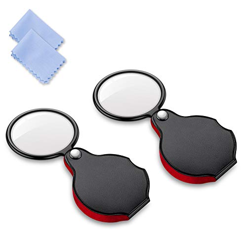 2PCS Upgrade 5X Small Magnifying Glasses for Kids/Senior, Pocket Magnifier for Reading/Close Work, Mini Folding Magnifying Magnify Glass with Protective Sheath, Ideal for Repairing/Hobby/Coins, 1.96
