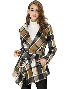 Allegra K Women s Turn Down Collar Asymmetric Hem Thin Belted Plaids Wrap Coat X-Small Brown