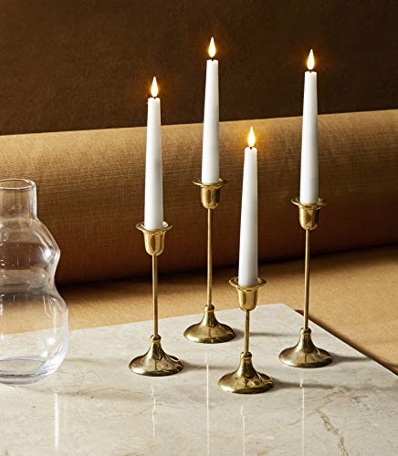 6 Inch Flameless Taper Candles - Realistic 3D Flame with Wick, Real White Wax, Flickering LED Flame, Christmas Home Decor, Automatic Timer, Remote Control and Batteries Included - Set of 4