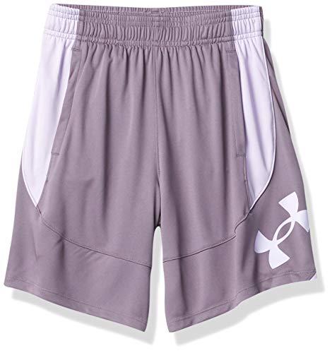 Under Armour Girls' Basketball Shorts , Flint (033)/Nebula Purple , Youth Small