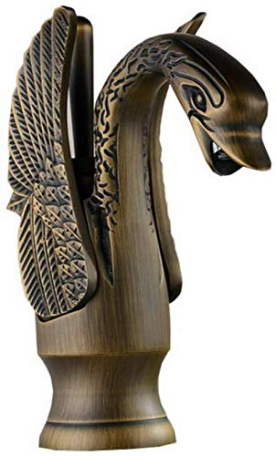 Grifo de fregadero de latón antiguo con forma de ave migratoria, monomando, grifo