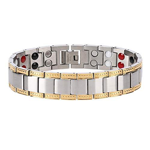 Heren Titanium Steel Magnetische Armband met Dubbele Sterke Magneet Artritis Pijnverlichting, Gezondheid Gewichtsverlies Heren Armband