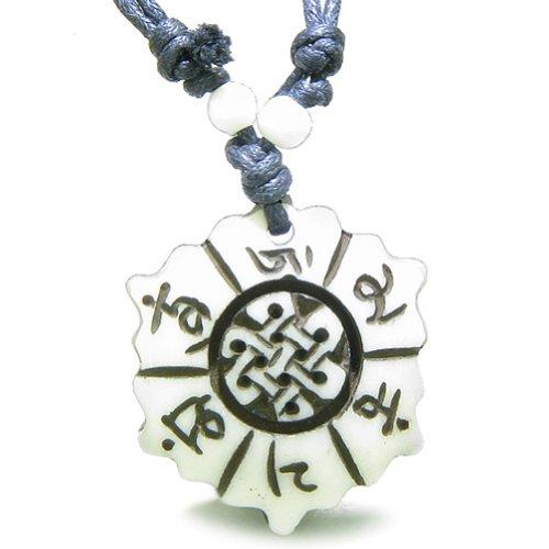 BestAmulets Amulet Mantra Om Mani Padme Hum Lotus Celtic Shield Knot Pendant Necklace