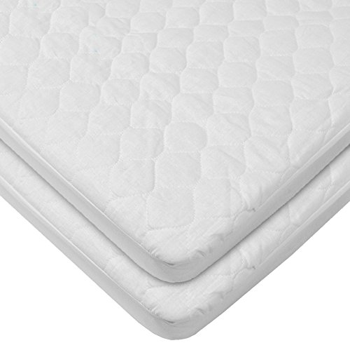 American Baby Company Waterproof Fitted Quilted Bassinet Mattress Pad Cover,...