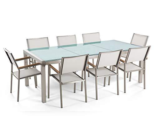 Beliani - Table de Jardin et 8 Chaises - Grosseto - Plateau Triple en Verre Effet Brisé, 220x100 cm, Chaises en Textile, Transparent et Blanc