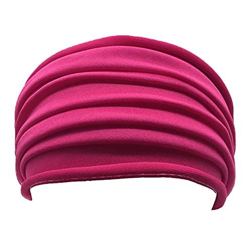YUANBOO 13 Colores Estirar Yoga Hairband Mujeres Pliegue Ancho Deportes Banda de Pelo No Sonslip Diadema Elástica Turban Headwrap Running Accesorios (Color : Rose)