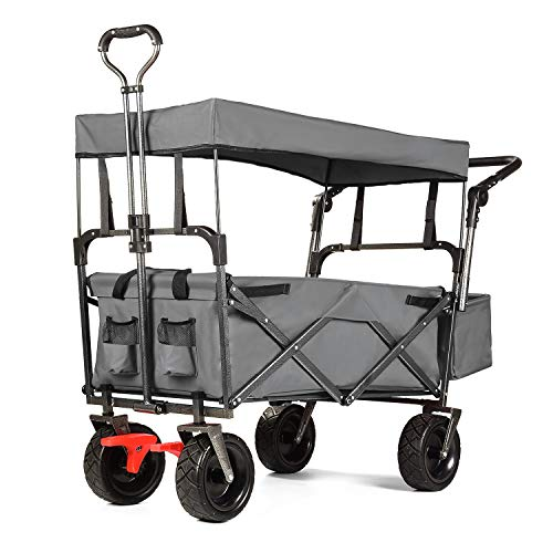 EXTEC Push and Pull Folding Stroller Wagon Collapsible with Canopy with Brakes with Safety Belts -...