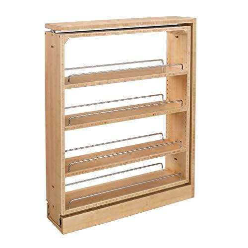 Rev-A-Shelf 432-BF-6C 6-Inch Wooden Adjustable Base Filler Pull-Out Between Cabinet Storage Organizer