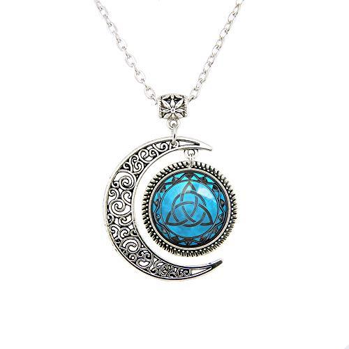 Blue Celtic Triquetra Necklace Moon Pendant Celtic Triquetra jewelry for women girl