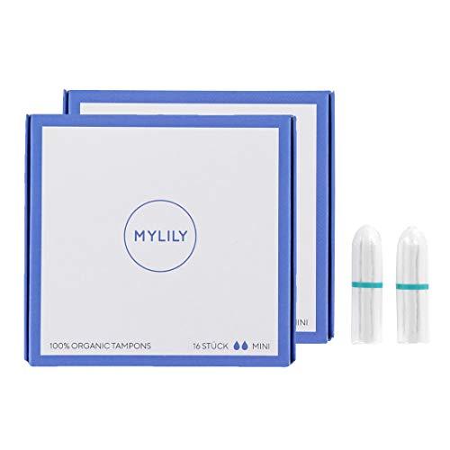 MYLILY Tampones ecológicos (32 unidades) I Mini I 100% algodón orgánico certificado | 0% químico | protección fiable | introducción fácil I en periodos ligeros