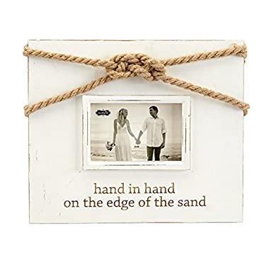 Mud Pie 5  x 7  Distressed Painted Wood Wedding Knot Frame