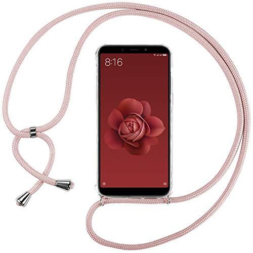 Ingen Funda Xiaomi Mi A2 / 6X-Carcasa Xiaomi Mi A2 / 6X con Colgante,Transparente Suave Silicona TPU Bumper Rubber Prueba de Golpes Caso para Xiaomi Mi A2 / 6X Case 5.99Pulgadas-Rosa