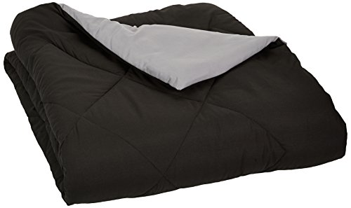 AmazonBasics Reversible Microfiber Comforter Blanket - Full or Queen, Black