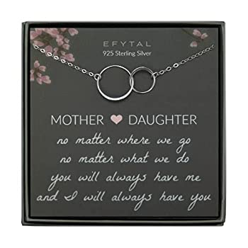 EFYTAL Gifts for Mom and Daughter Sterling Silver Infinity Mother s Day Gift 2 Interlocking Circles Necklace