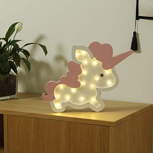 Mobestech Unicornio Led Luz de Noche Decorativa Marquesina Signos Madera Noche Luces Lámpara de Pared para Bebé Niños Dormitorio Cumpleaños Fiesta Decoración Rosa