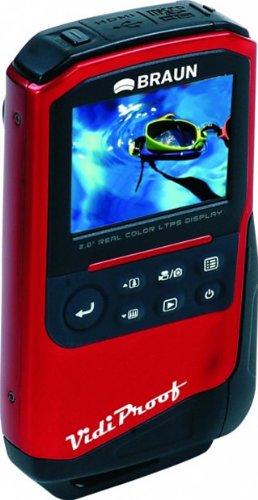 Braun Phototechnik VidiProof Caméscope Écran 2  (5,1 cm) Zoom optique 1x HDMI Flash Full HD 1080p Fonction photo 5 Mpx Étanche Rouge (Import Allemagne)