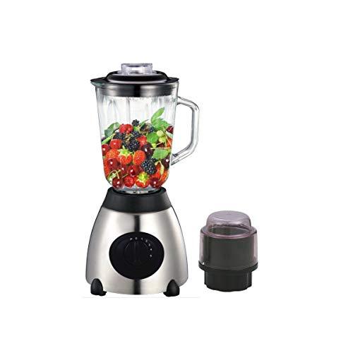 HERZBERG HG 5009GL - Blender et moulins à café - 700W - 4 vitesses - Fonction pulse - Blender avec un bol en verre - Argent