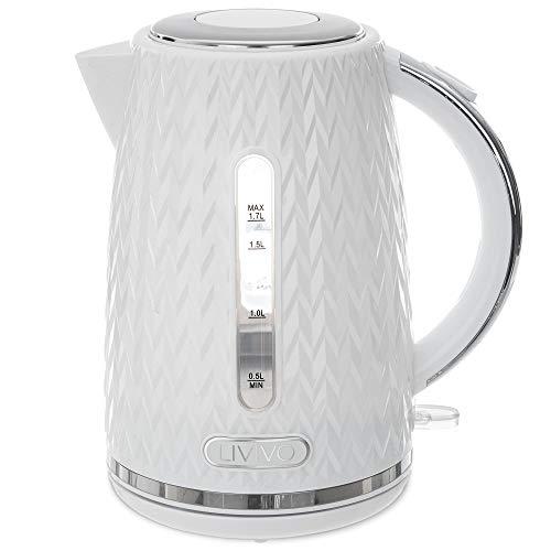 LIVIVO TAURUS Electric Kettle Fast Boil Jug Hot Water Dispenser 3000W 1.7L BPA Free 360° Swivel Base Kitchen– Stylish Diamond Pattern Design (White)