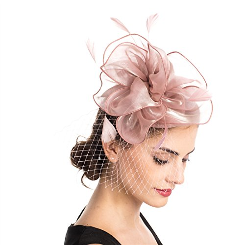 SAFERIN Fascinators Hat Sinamay Flower Mesh Feathers on a Headband and a Clip Tea Party Headwear for Girls and Women (TA2-Pink)