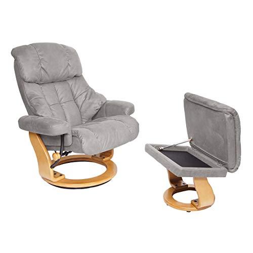 Mendler MCA Relaxsessel Calgary XXL, TV-Sessel Hocker, 180kg belastbar Stoff/Textil ~ hellgrau, Gestell naturbraun