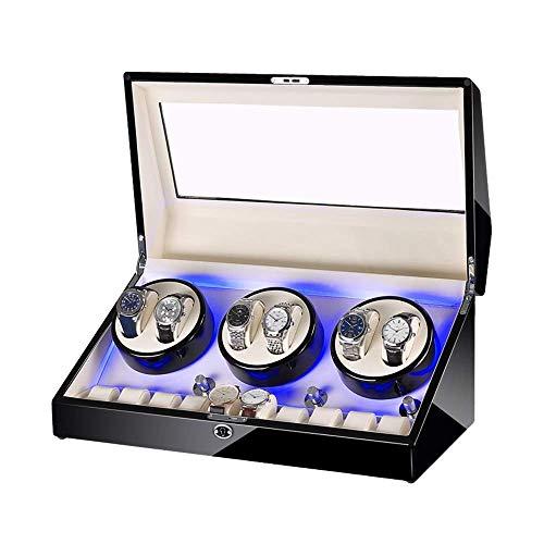 AMAFS Caja automática para 6 relojes + 10 unidades de almacenamiento de madera con acabado de pintura de piano, iluminación integrada y silenciosa para el festival del motor