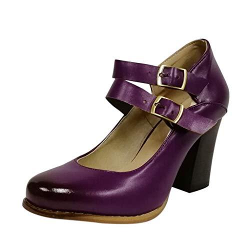 SHE.White Damen Retro Elegant High Heels   Bequeme Spangen Pumps   Riemchen Stilettos   Geschlossene Zehe   Quadratischer Absatz Sandalen Große Größe Schuhe 35-43